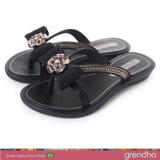 【GRENDHA】晶鑽玫瑰蝴蝶結夾腳鞋-女童(黑色)  GRENDHA