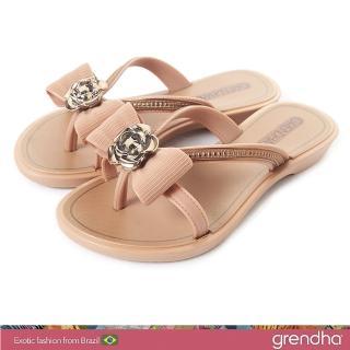 【GRENDHA】晶鑽玫瑰蝴蝶結夾腳鞋-女童(褐色)  GRENDHA