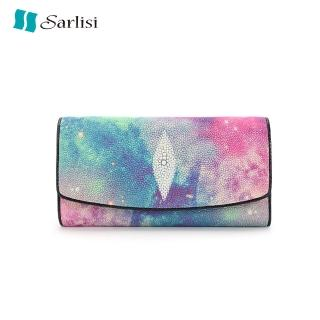 【Sarlisi】夏麗絲泰國珍珠魚皮錢包手包女長款錢夾女式手拿包多卡位三折長夾優惠推薦  Sarlisi