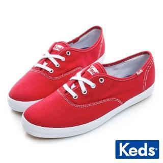 【Keds】品牌經典綁帶休閒鞋(紅色)  Keds