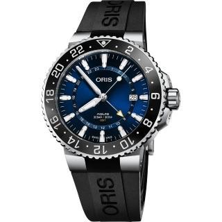 【ORIS 豪利時】Aquis GMT 雙時區潛水300米機械錶-藍x黑橡膠帶/43.5mm(0179877544135-0742464EB)  ORIS 豪利時