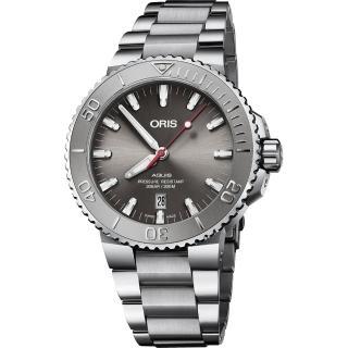 【ORIS 豪利時】Aquis Relief 日期潛水機械錶-灰/43.5mm(0173377304153-0782405PEB)優惠推薦  ORIS 豪利時
