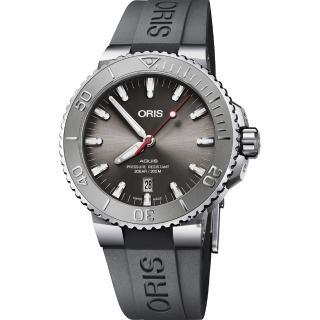 【ORIS 豪利時】Aquis Relief 日期潛水機械錶-灰x灰色錶帶/43.5mm(0173377304153-0742463EB)折扣推薦  ORIS 豪利時