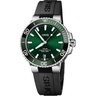 【ORIS 豪利時】Aquis 時間之海潛水300米日期機械錶-綠水鬼/39.5mm(0173377324157-0742164FC)品牌優惠  ORIS 豪利時