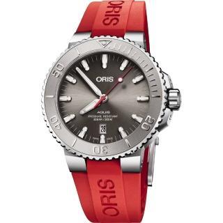 【ORIS 豪利時】Aquis Relief 日期潛水機械錶-灰x紅色錶帶/43.5mm(0173377304153-0742466EB)  ORIS 豪利時