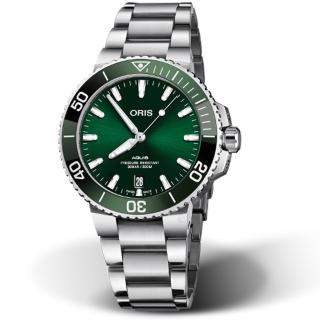 【ORIS 豪利時】Aquis時間之海300米潛水錶(0173377324157-0782105PEB 綠)  ORIS 豪利時