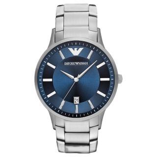 【EMPORIO ARMANI】時尚典範紳士日期腕錶-銀X藍(AR11180)  EMPORIO ARMANI