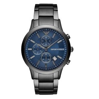 【EMPORIO ARMANI】雋永時代三眼腕錶-槍灰X藍(AR11215)  EMPORIO ARMANI
