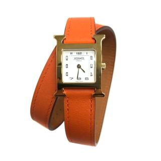 【Hermes 愛馬仕】HEURE H 小牛皮金框雙圈石英錶(橘/21mm)  Hermes 愛馬仕
