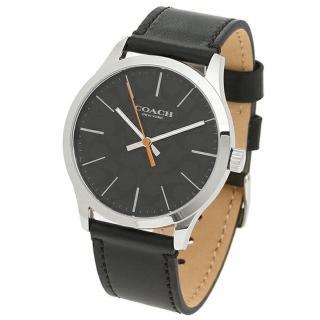 【COACH】型男最愛黑色皮革錶帶時尚腕錶(W1584 BLK)  COACH