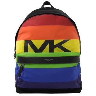 【Michael Kors】KENT 超輕系彩虹條紋尼龍皮飾邊後背包  Michael Kors