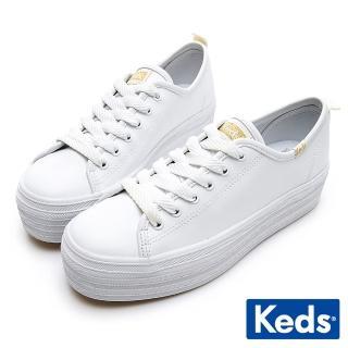 【Keds】TRIPLE UP 小心機厚底皮革綁帶休閒鞋(白)  Keds