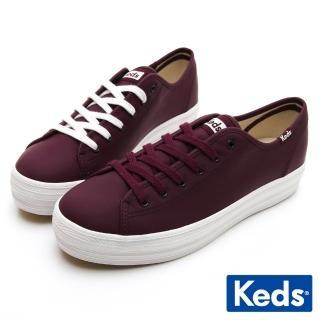 【Keds】TRIPLE KICK 韓系厚底皮革休閒鞋(酒紅)優惠推薦  Keds