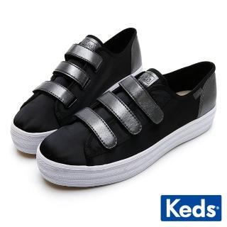 【Keds】TRIPLE KICK 時尚皮革厚底魔鬼氈休閒鞋(黑)  Keds