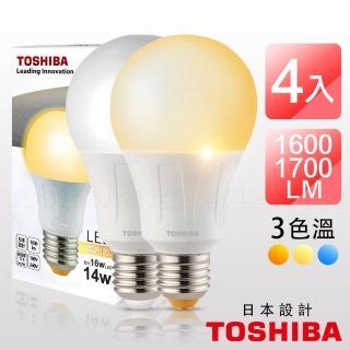 【TOSHIBA 東芝】4入組14W 第二代高效LED 燈泡 E27(白光/黃光 自由配)  TOSHIBA