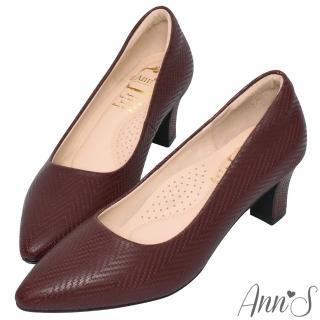 【Ann'S】名品感頂級山形紋羊皮尖頭跟鞋(酒紅)  Ann'S