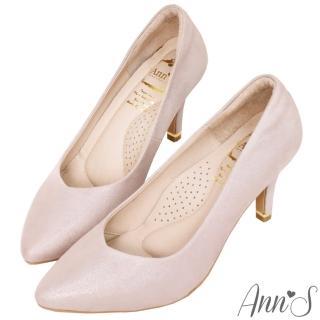 【Ann'S】閃耀天鵝湖3D氣墊顯瘦V型全真皮尖頭跟鞋(玫瑰金)折扣推薦  Ann'S