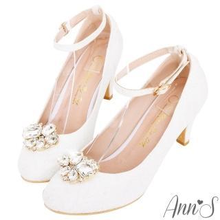 【Ann'S】公主夢-夾式鑽扣多way蕾絲圓頭繫帶跟鞋(白) 推薦  Ann'S