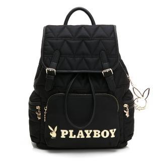 【PLAYBOY】大後背包 金典小兔系列(黑色)  PLAYBOY