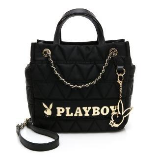 【PLAYBOY】鍊帶肩背包可手提 金典小兔系列(黑色)  PLAYBOY