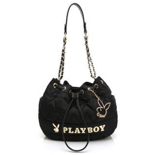 【PLAYBOY】鍊帶抽繩水桶包 金典小兔系列(黑色)折扣推薦  PLAYBOY