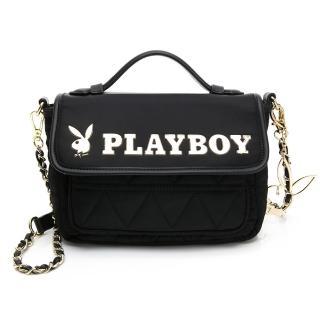 【PLAYBOY】鍊帶斜背包 金典小兔系列(黑色)  PLAYBOY