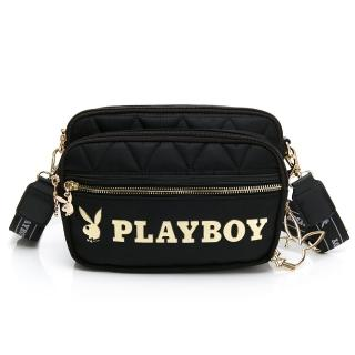 【PLAYBOY】斜背包可做腰包及單肩背 金典小兔系列(黑色)折扣推薦  PLAYBOY
