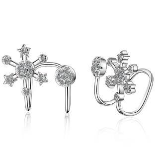 【RJ New York】雪花冰晶水鑽夾式貼耳耳環(銀色)  RJ New York