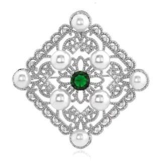 【RJ New York】宮廷菱格鏤空雕花水鑽珍珠別針胸針兩用(2色可選)  RJ New York