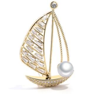 【RJ New York】追尋帆船夢國度水鑽珍珠別針胸針兩用(2色可選)好評推薦  RJ New York