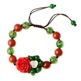 【RJ New York】古典收藏玫瑰花朵紅瑪瑙手工編織手鍊(紅綠色)好評推薦  RJ New York