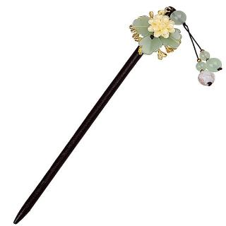 【RJ New York】古典宮廷別緻復古花卉琉璃串珠髮簪(綠色)好評推薦  RJ New York