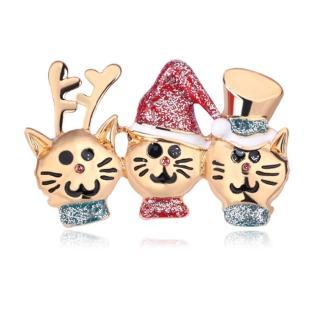 【RJ New York】耶誕快樂可愛貓咪胸針別針兩用(金色)  RJ New York