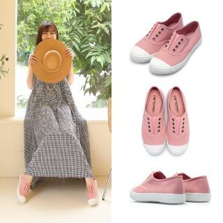 【FUFA Shoes 富發牌】素面懶人鬆緊休閒鞋-粉 1A43好評推薦  FUFA Shoes 富發牌