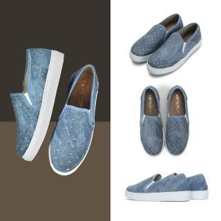 【FUFA Shoes 富發牌】星星皮質感懶人鞋-牛仔藍 1BD10評價推薦  FUFA Shoes 富發牌