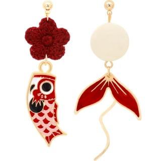 【RJ New York】新春鯉魚花朵嫣紅不對稱耳環(耳針耳夾款可選)  RJ New York