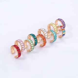 【RJ New York】彩虹橋梁方鑽璀璨C型勾式單只耳環(2色可選)好評推薦  RJ New York