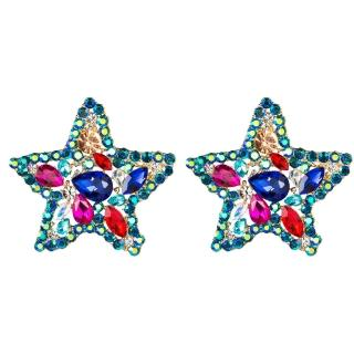 【RJ New York】深邃藍海五角星彩鑽貼耳式耳環(藍色)  RJ New York