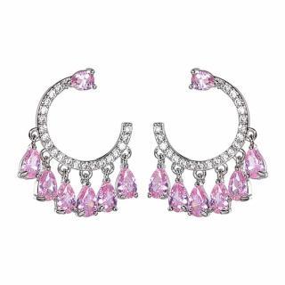 【RJ New York】女神裙襬水滴鑽C型925銀針耳環(2色可選)  RJ New York