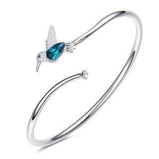 【RJ New York】S925銀精緻相思鳥水晶鋯石開口手環(白金色) 推薦  RJ New York