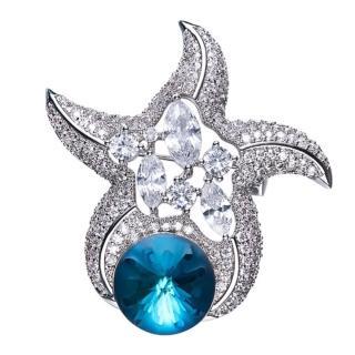 【RJ New York】活力海瀾之星水晶鋯石耀眼胸針別針兩用(藍色) 推薦  RJ New York