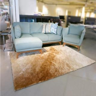 【山德力】薇尼絲地毯 -晨曦金160x230cm(地墊 柔順 漸層 質感 長毛)  山德力