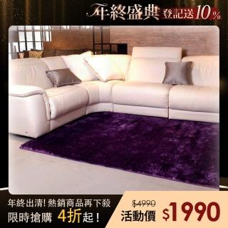 【山德力】歐密地毯 - 紫 140x200cm(地毯 長毛 毯子 毛毯 溫暖)優惠推薦  山德力