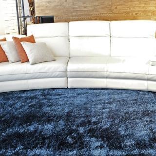 【山德力】歐密地毯 -藍 140x200cm(地毯 長毛 毯子 毛毯 溫暖)  山德力