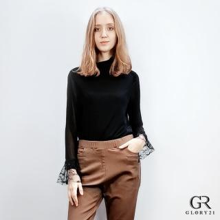 【GLORY21】宮廷風彈性小高領上衣(黑)  GLORY21