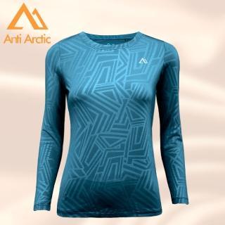 【Anti Arctic】遠紅外線保暖衣-幾何壓紋-女圓領-藍(遠紅外線保暖衣)好評推薦  Anti Arctic