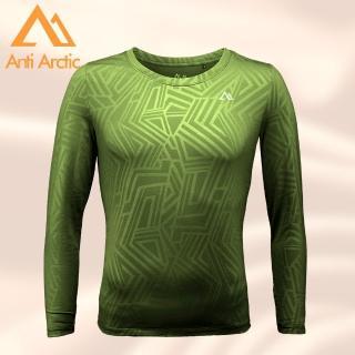 【Anti Arctic】遠紅外線保暖衣-幾何壓紋-男圓領-綠(遠紅外線保暖衣)  Anti Arctic