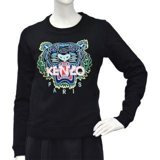 【KENZO】經典老虎刺繡標誌粉紅色LOGO厚版純棉長袖圓領衫(黑2SW7054XA99-205)  KENZO
