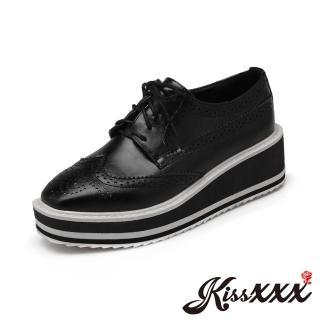 【KissXXX】小方頭布洛克雕花撞色厚底坡跟牛津鞋(黑)  KissXXX