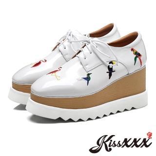 【KissXXX】真皮小方頭彩色小鳥刺繡坡跟厚底牛津鞋(白)  KissXXX